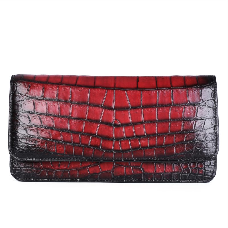 Alligator Leather Clutch Purse Long Ladies Credit Card Holder-Red