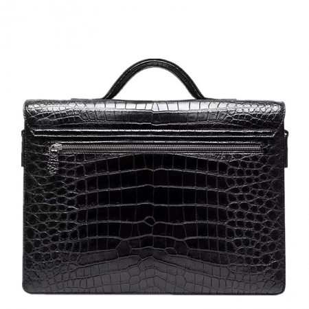 Alligator Leather Lawyers Briefcase Messenger Bag Business Bag for Men-Back