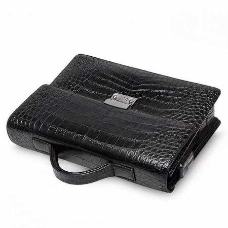 Alligator Leather Lawyers Briefcase Messenger Bag Business Bag for Men-Display