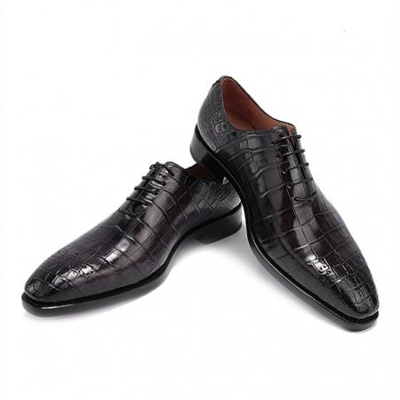 Alligator Oxford Alligator Leather Dress Shoes for Men-Gray