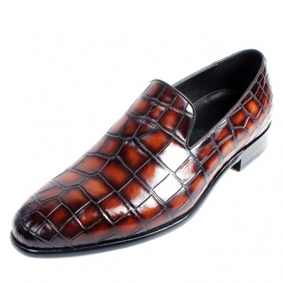 Alligator Skin Slip-on Loafers Classic Business Shoes-Burgundy