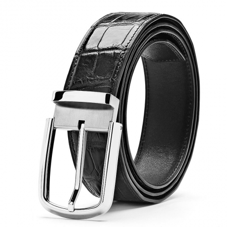 Classic Alligator Belt Adjustable Dress Belt for Men-Black