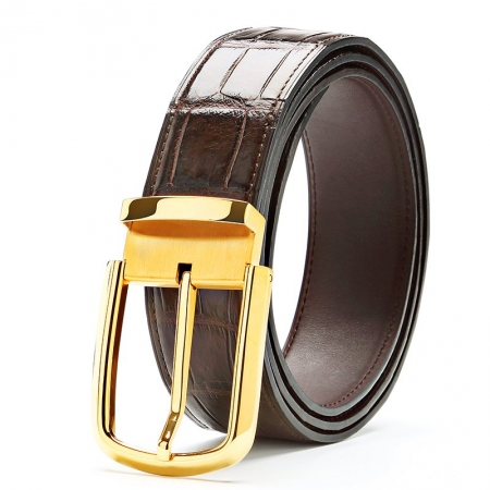 Classic Alligator Belt Adjustable Dress Belt for Men-Brown