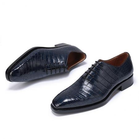 Formal Alligator Oxford Alligator Leather Dress Shoes for Men-Blue-1