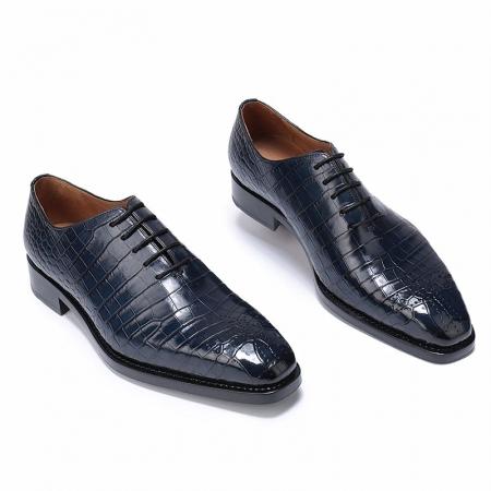 Formal Alligator Oxford Alligator Leather Dress Shoes for Men-Blue