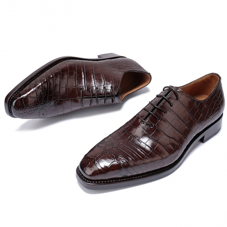 Formal Alligator Oxford Alligator Leather Dress Shoes for Men-Brown-1