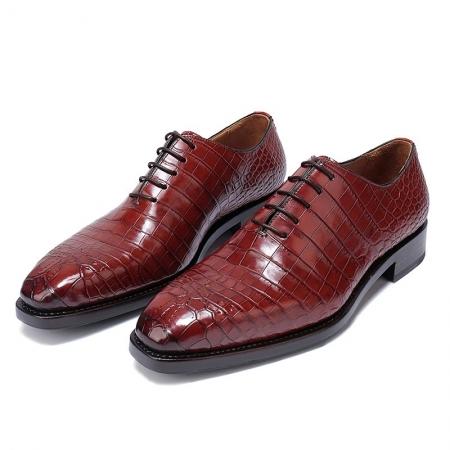Formal Alligator Oxford Alligator Leather Dress Shoes for Men-Burgundy-1