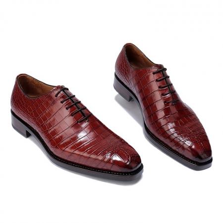 Formal Alligator Oxford Alligator Leather Dress Shoes for Men-Burgundy