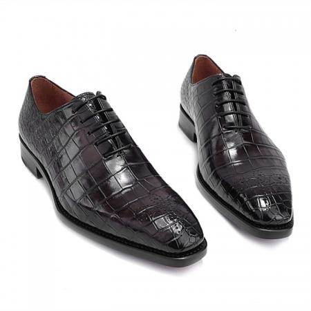 Formal Alligator Oxford Alligator Leather Dress Shoes for Men-Gray