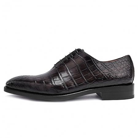 Formal Alligator Oxford Alligator Leather Dress Shoes for Men-Gray-Side
