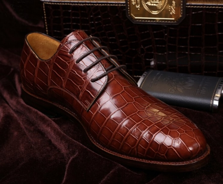 Formal Handmade Alligator Leather Lace up Oxford Dress Shoes-Display