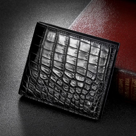 Genuine Crocodile Leather Bifold Wallet for Men-Black