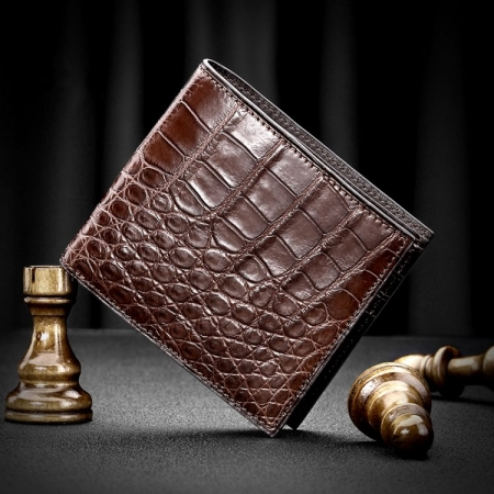 Genuine Crocodile Leather Bifold Wallet for Men-Brown