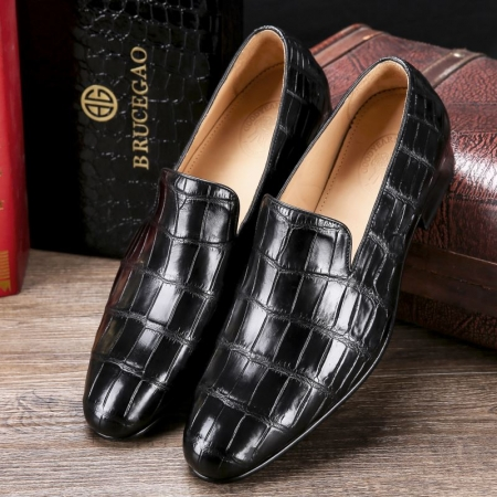 Handcrafted Men's Alligator Skin Slip-on Loafers Classic Business Shoes