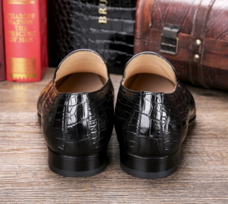 Handcrafted Men's Alligator Skin Slip-on Loafers Classic Business Shoes-Heel