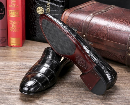 Handcrafted Men's Alligator Skin Slip-on Loafers Classic Business Shoes-Sole