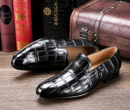 Handcrafted Men's Alligator Skin Slip-on Loafers Classic Business Shoes-Upper