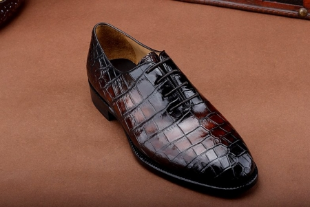 Luxury Genuine Alligator Leather Lace-up Business Formal Shoes Wedding Shoes-Burgundy