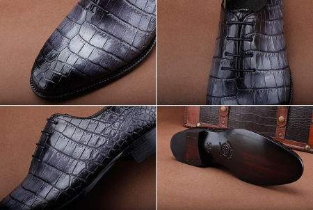 Luxury Genuine Alligator Leather Lace-up Business Formal Shoes Wedding Shoes-Details