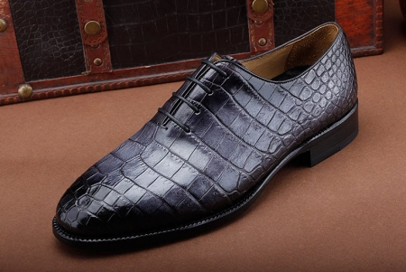 Luxury Genuine Alligator Leather Lace-up Business Formal Shoes Wedding Shoes-Gray-1