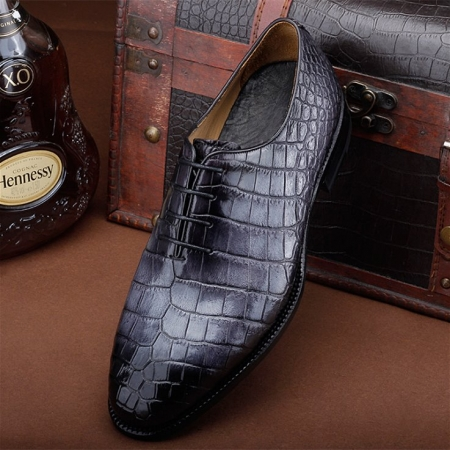 Luxury Genuine Alligator Leather Lace-up Business Formal Shoes Wedding Shoes-Gray