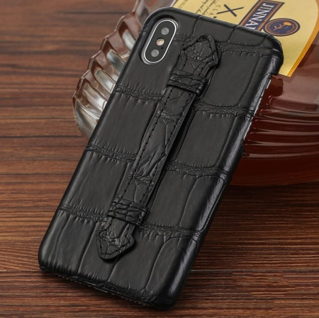 Luxury iPhone Xs Max, Xs, Crocodile and Alligator Case-Black