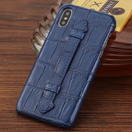 Luxury iPhone Xs Max, Xs, Crocodile and Alligator Case-Blue
