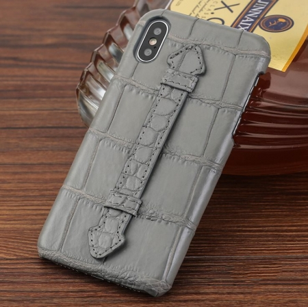 Luxury iPhone Xs Max, Xs, Crocodile and Alligator Case-Gray