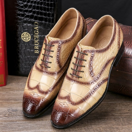 Men's Alligator Leather Wingtip Brogue Oxford Leather Lined Perforated Dress Shoes