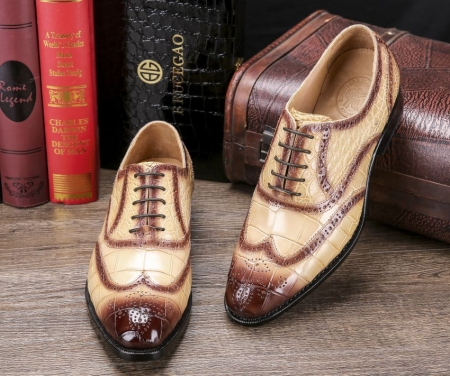 Men's Alligator Leather Wingtip Brogue Oxford Leather Lined Perforated Dress Shoes-Display