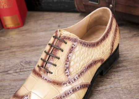 Men's Alligator Leather Wingtip Brogue Oxford Leather Lined Perforated Dress Shoes-Lace-up