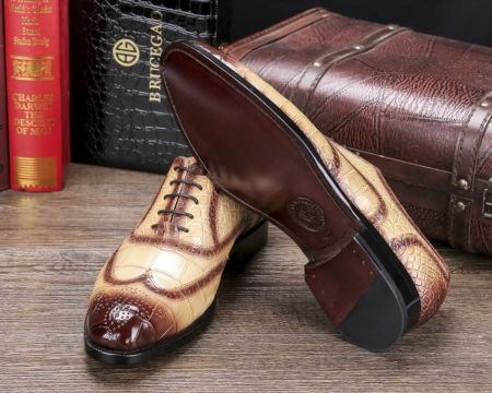 Men's Alligator Leather Wingtip Brogue Oxford Leather Lined Perforated Dress Shoes-Sole