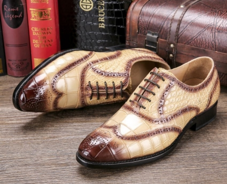 Men's Alligator Leather Wingtip Brogue Oxford Leather Lined Perforated Dress Shoes-Upper