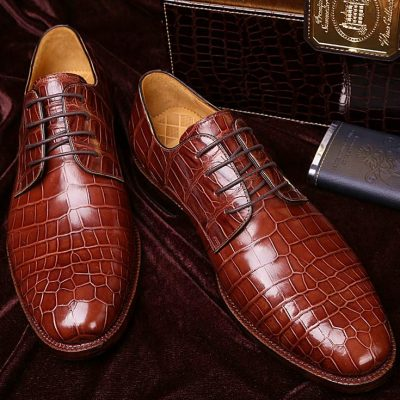 Men's Formal Handmade Alligator Leather Lace up Oxford Dress Shoes