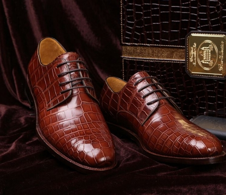 Men's Formal Handmade Alligator Leather Lace up Oxford Dress Shoes-Display