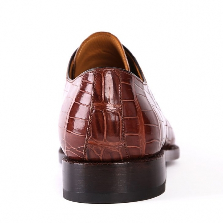 Men's Formal Handmade Alligator Leather Lace up Oxford Dress Shoes-Heel
