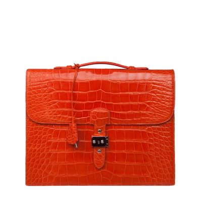Stylish Alligator Leather Briefcase Handbag