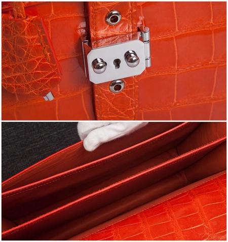 Stylish Alligator Leather Briefcase Handbag for Women-Details