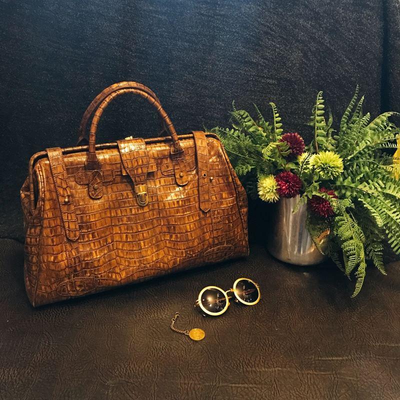 luxury alligator leather travel bag for men