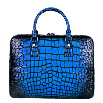 Alliagtor Business Bag Designer Alligator Briefcase-Blue
