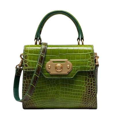 Alligator Handbag Ladies Alligator Shoulder Purse Bag-Green