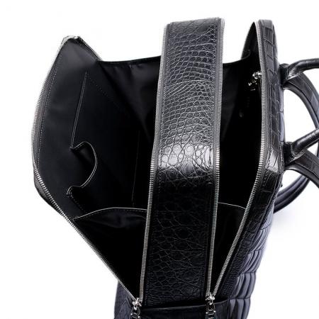 Alligator Leather Backpack Business Travel Daypack for Men-Inside