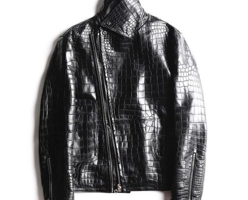 BRUCEGAO's crocodile leather jackets for men