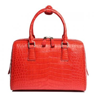 Classic Alligator Leather Barrel Handbag Top-Handle Bag Purse for Women