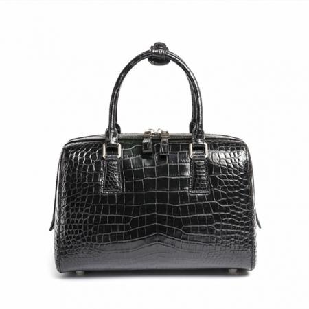 Classic Alligator Leather Barrel Handbag Top-Handle Bag Purse for Women-Black