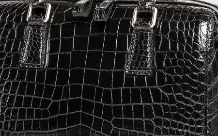 Classic Alligator Leather Barrel Handbag Top-Handle Bag Purse for Women-Details