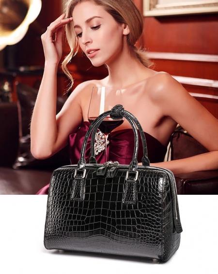 Classic Alligator Leather Barrel Handbag Top-Handle Bag Purse for Women-Display