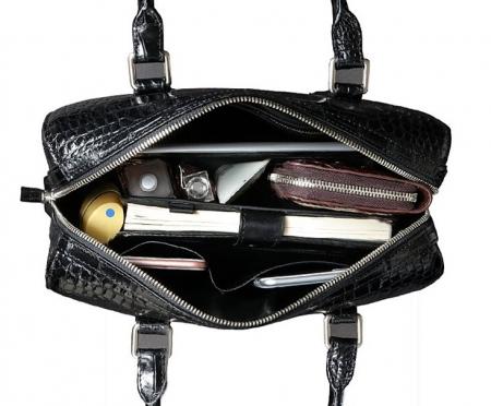 Classic Alligator Leather Barrel Handbag Top-Handle Bag Purse for Women-Inside
