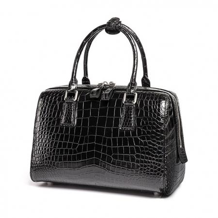 Classic Alligator Leather Barrel Handbag Top-Handle Bag Purse for Women-Micro-Side