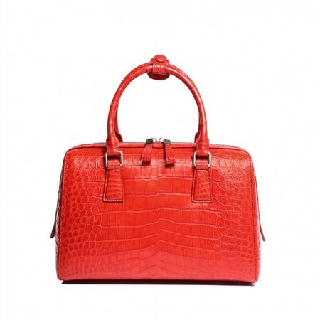 Classic Alligator Leather Barrel Handbag Top-Handle Bag Purse for Women-Red